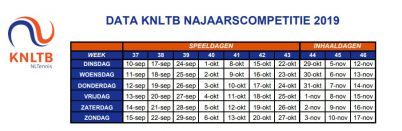 speeldata herfstcompetitie 2019